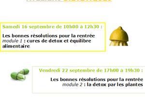 Ateliers diététiques : detox ! en 2 modules