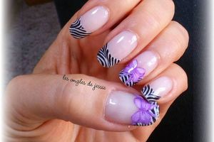 french zébrée nailart noeud mauve