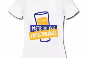 T shirt blanc femme Humour Pastis un jour pastis toujours