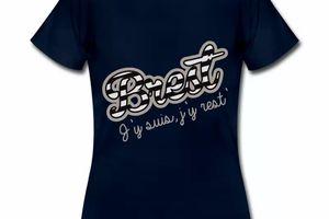 T Shirt Bretagne bleu m femmes Brest J'y suis j'y rest'