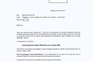 """Télépéage - Accord - Badges TIS """"salarié"""" et """"conjoint"""""""