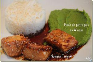 Saumon Teriyaki et purée de petits pois au wasabi, pour le défi Japon de Anne-Emilie!
