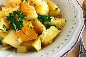Salade de pommes terre au haddock fumé vinaigrette au citron tigré