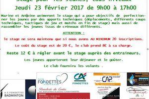 Stage Jeunes de Février 23/02/17 : Infos