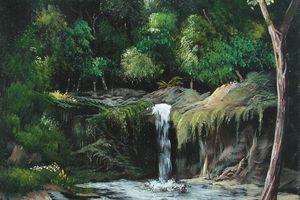la cascade nocturne < peinture toile 10f