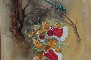 la libellule et orchidée< peinture>