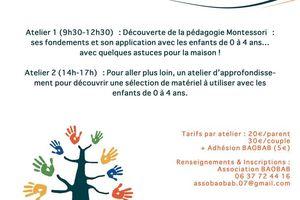 Prochains ateliers pour les parents samedi 11 mars à la Voulte !