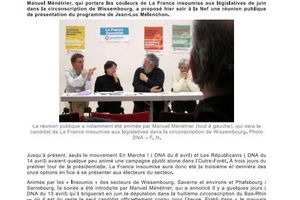 20 avril à la Nef de Wissembourg. Réunion publique