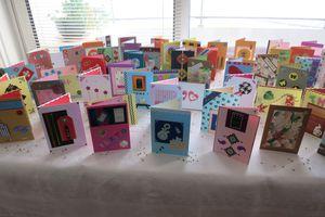 Les cartes de notre voisine Martine faites à la main.