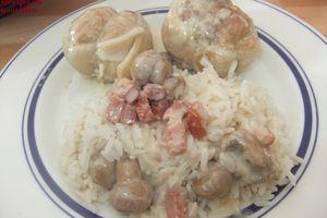 Paupiettes de porc sauce lardons et champignons au wok