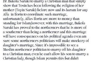 Tosin Saraki marriage is an outright sin. See why a Facebook user said this