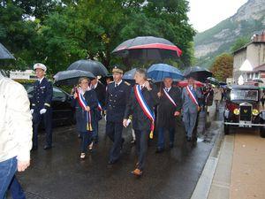 Cérémonie de passation du drapeau des villes médaillées de la Résistance entre les communes de Montceau-Les-Mines et Nantua