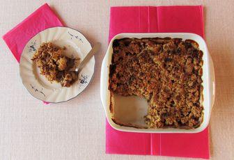 Crumble rhubarbe amande & flocons d'avoine