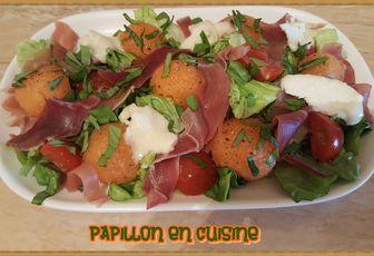 Recette: Salade melon, jambon cru, tomates cerise et fromage de chèvre