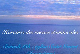 MESSES DOMINICALES : NOUVEAUX HORAIRES
