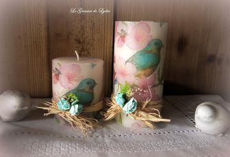     Bougies décorées thème printemps...