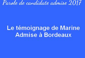 Le témoignage de Marine - Admise à Bordeaux