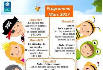 Programme des Mercredi Famille du mois de Mars