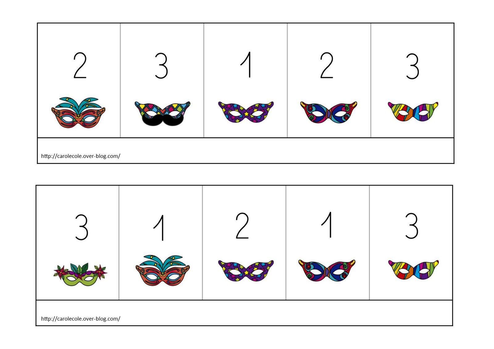 Boîtes à compter carnaval de 1 à 3