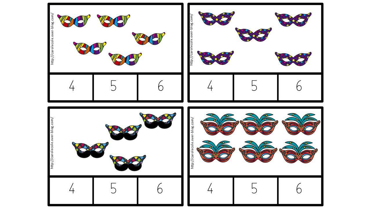 Cartapinces carnaval avec quantités de 4 à 6