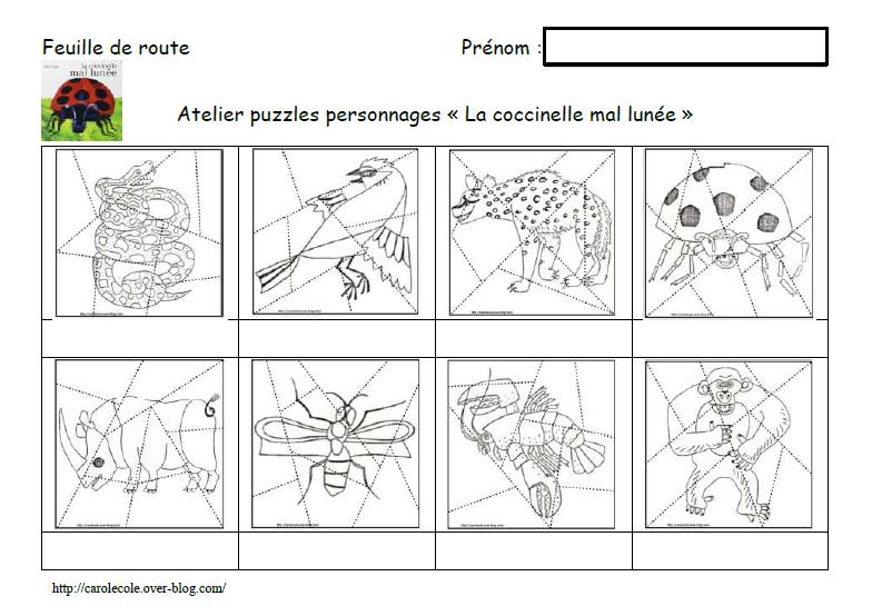 """Puzzles personnages """"La coccinelle mal lunée"""""""