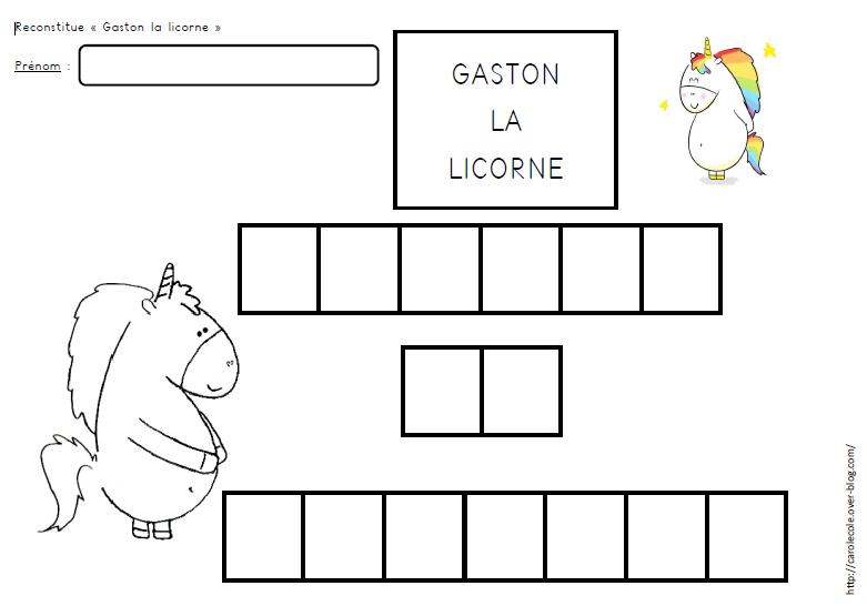 Quelques fiches d'activités Gaston
