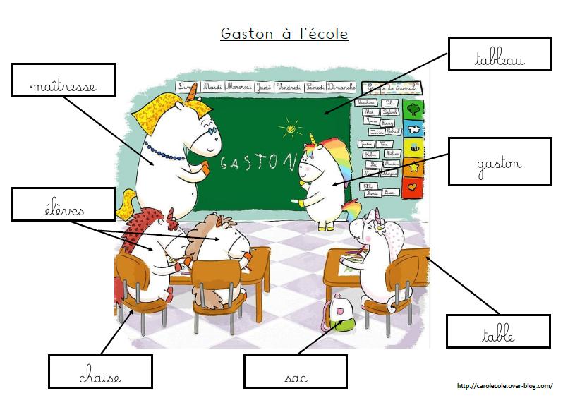Jeu de lecture Gaston à l'école