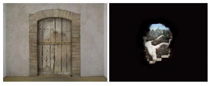 Installation de Marcel Duchamp : Étant Donnés : 1 la chute d'eau, 2 le gaz d'éclairage