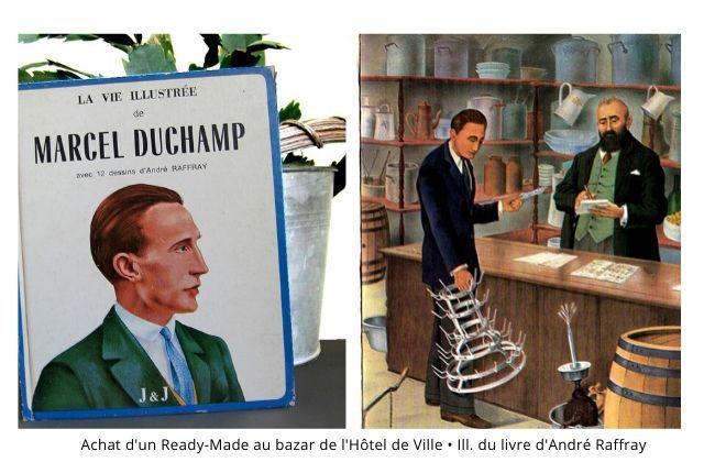 La vie illustrée de Marcel Duchamp. Illustrations d'André Raffray, aux éditions J&J Jennifer Gough-Cooper et Jacques Caumont. Centre National d'Art et de Culture Georges Pompidou