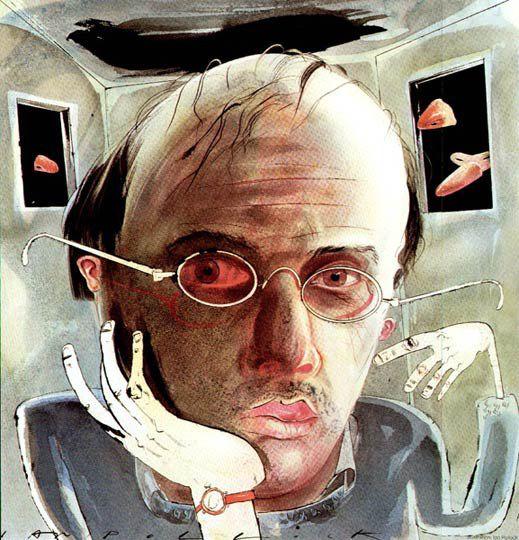 Aquarelle de Ian Pollock représentant Patrick Suskind, l'auteur du Roman Le Parfun, histoire d'un meurtrier