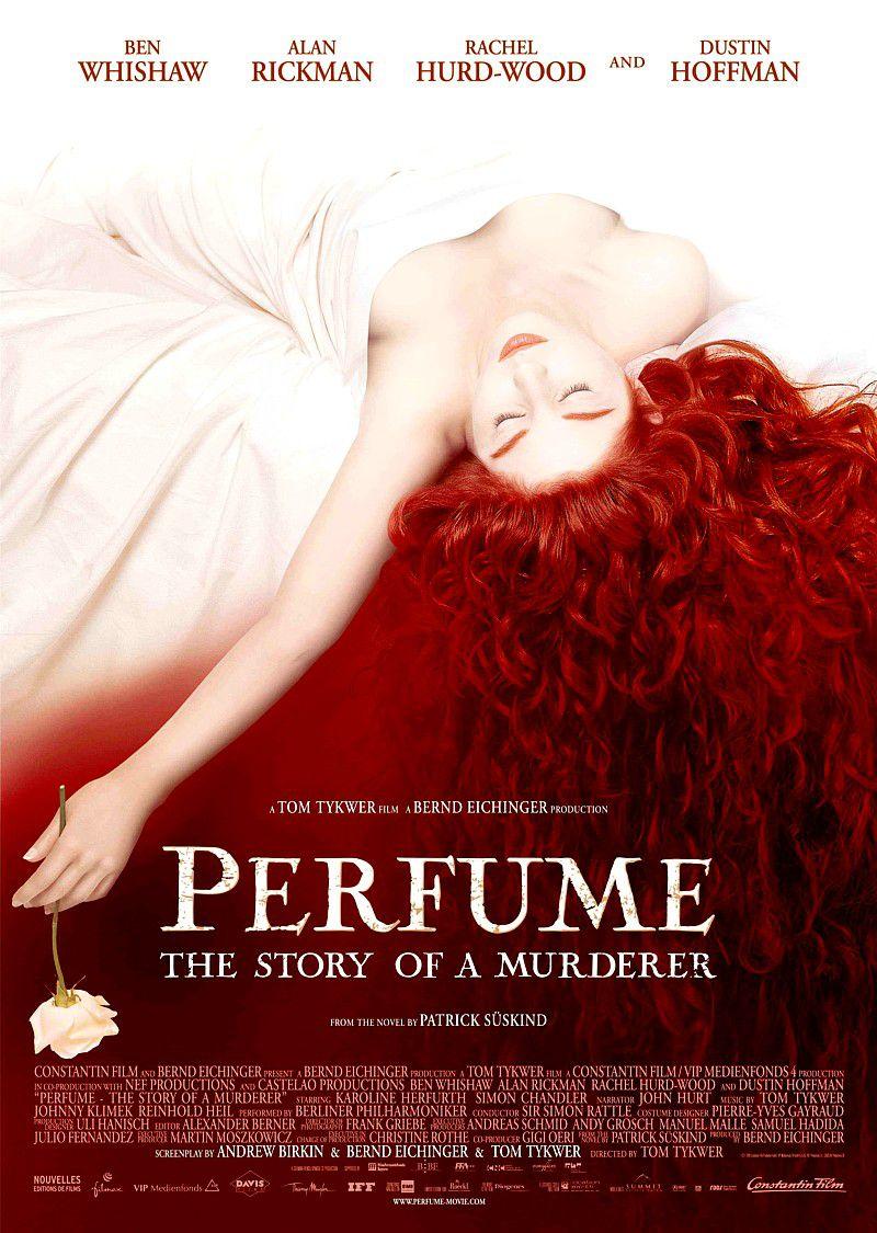 affiche du film Le Parfum,  de Tom Tykwer,  avec Ben Whishaw, Dustin Hoffman, Alan Rickman , d'après le roman de patrick Süskind