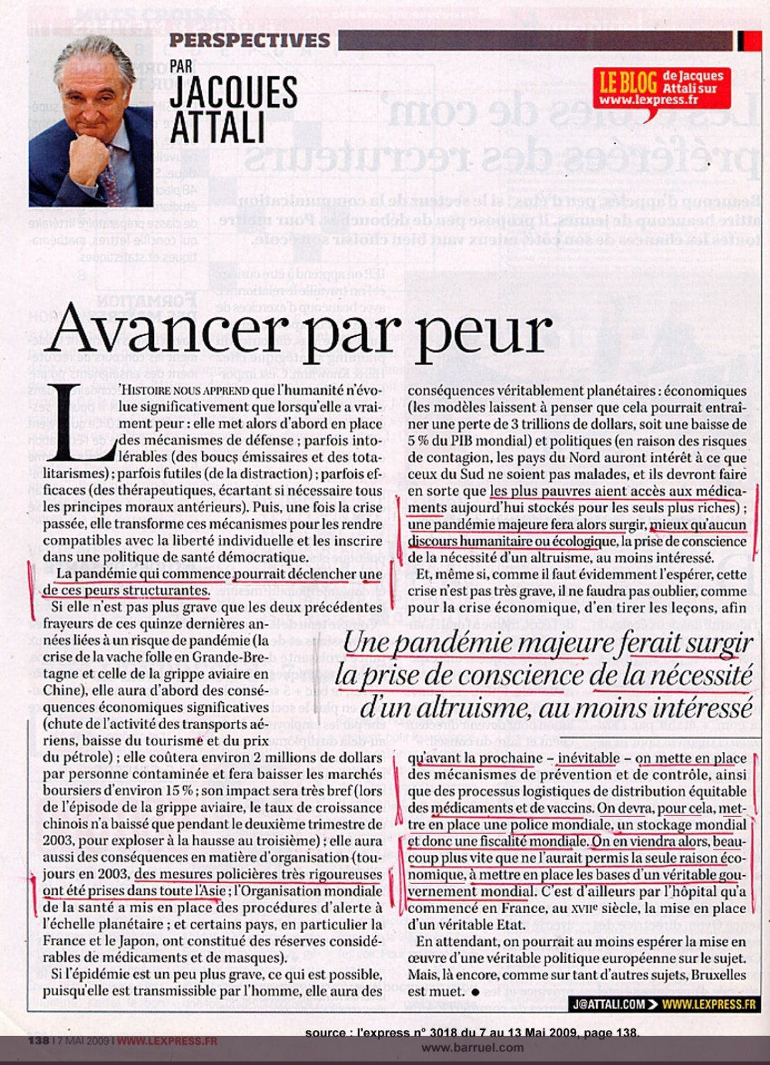 Jacques Attali : Avancer par peur - Journal l'Express