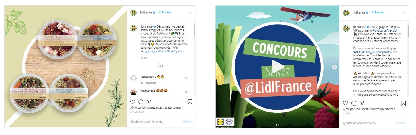 Lidl met en avant ses offres et produits dans un univers qui colle au positionnement lifestyle d'Instagram