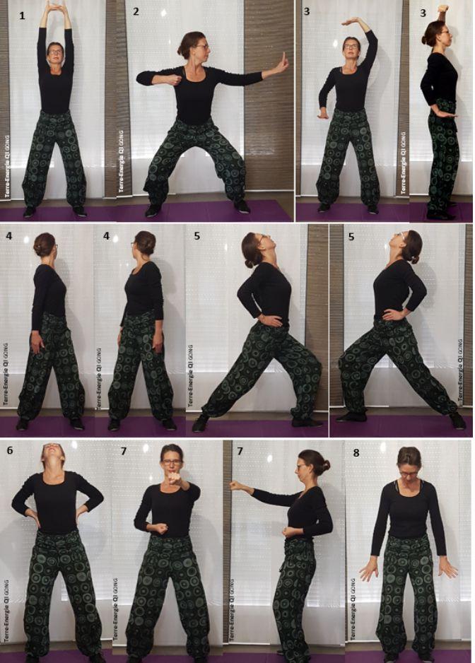 Qi Gong : postures des 8 pièces de Brocart