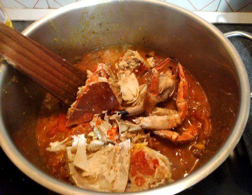 Ajouts des crabes au bouillon
