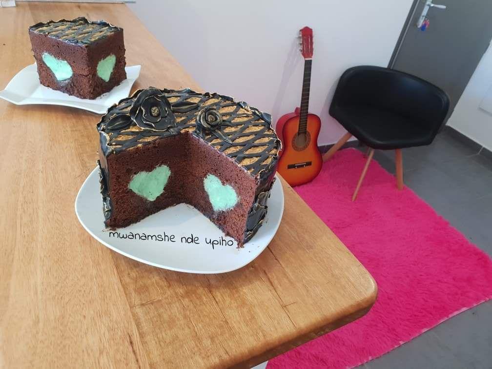 Gâteau choco coeur caché en crème