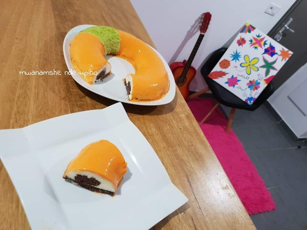 Entremet vanille chocolat  et mandarine