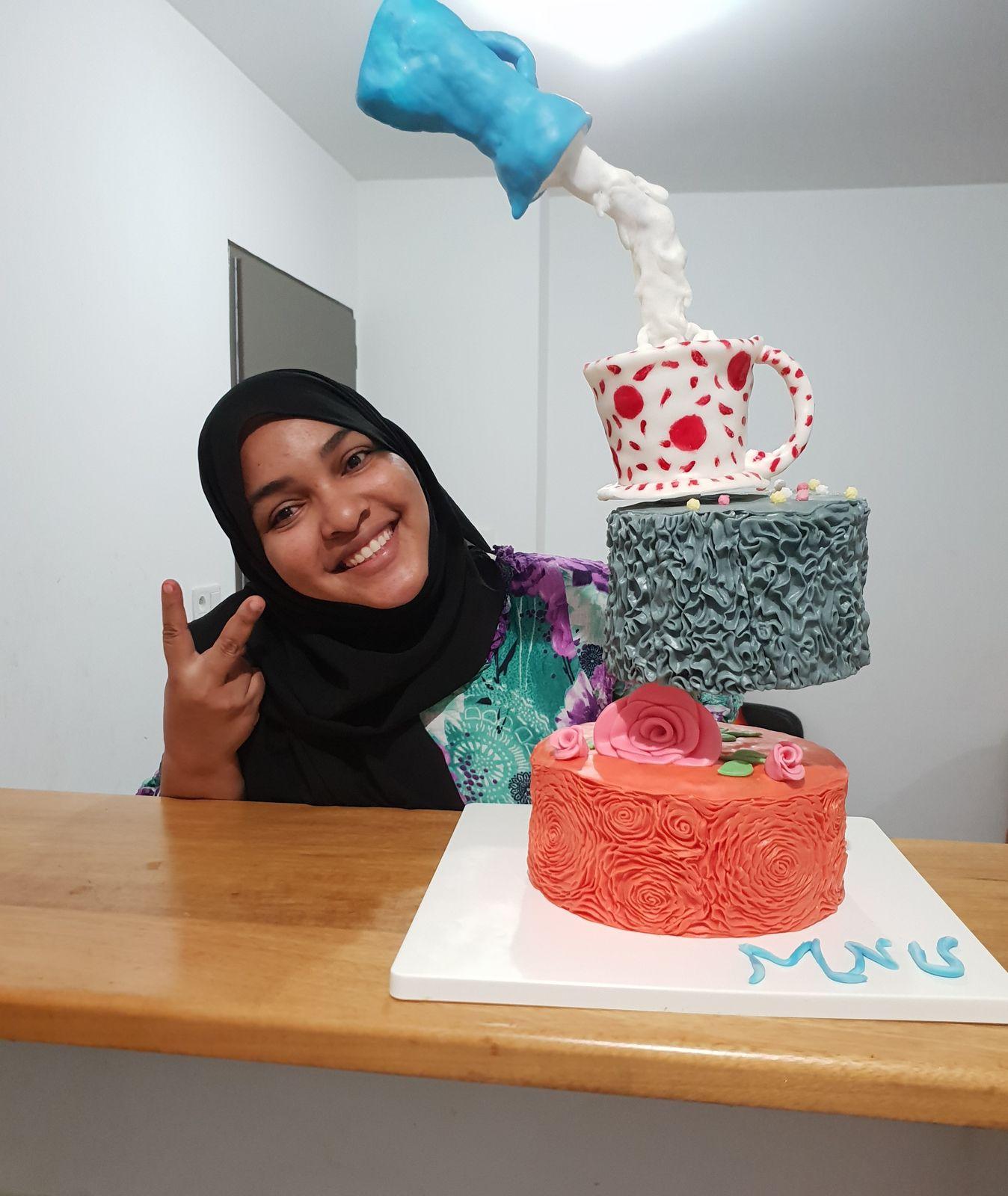 Defying gravity cake