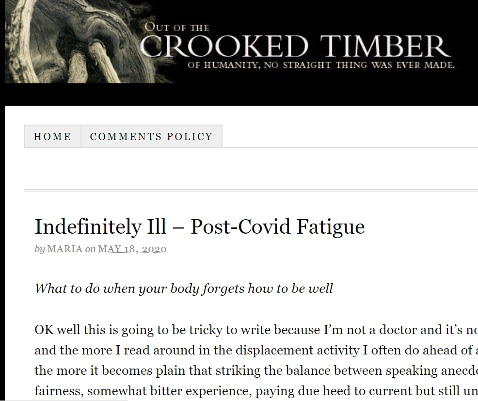 Article 18 mai 2020  - Crookedtimber.org - Indefinitely Ill – Post-Covid Fatigue