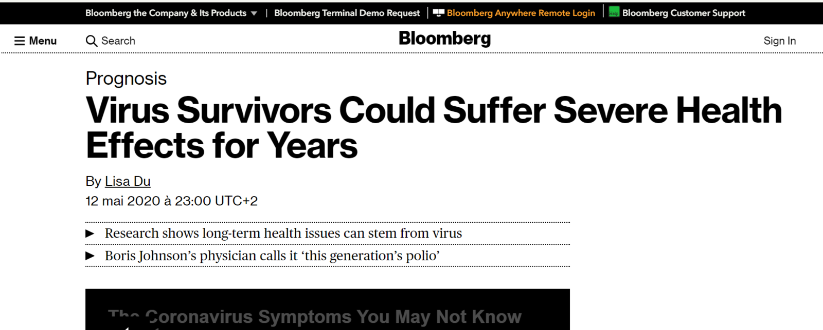 Article 12 mai 2020 - Bloomberg - Virus Survivors Could Suffer Severe Health Effects for Years