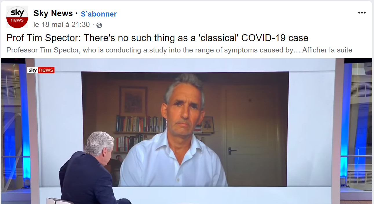 Article 18 mai - Sky News - Prof Tim Spector: There's no such thing as a 'classical' COVID-19 case