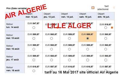 Le tarif du  Lille Alger s'envole à 600 euros... avec Air Algerie !