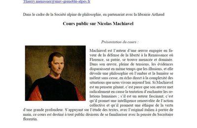Cours public sur Nicolas Machiavel - Thierry MENISSIER