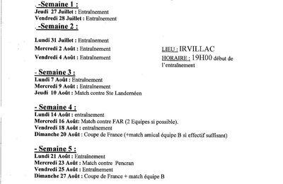 ESM : programme de préparation du début de saison..