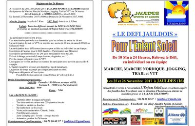 DEFI JAULDOIS 2017 : BULLETINS D'INSCRIPTION ET FLYER