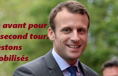 Avec MACRON  c'est l'espoir d'une France nouvelle, une France revigorée , une France plurielle. Restons mobilisés pour le second tour.