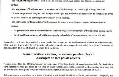 """07 MARS 2017 Mobilisation Nationale du Social / Médico Social et Santé """"SALARIÉS MALTRAITÉS, USAGERS EN DANGER !"""""""