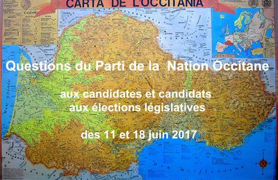 Législatives 2017 : Questions du Parti de la Nation Occitane