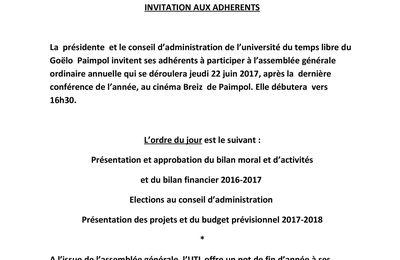 """""""Convocation & Procuration  Assemblée Générale Juin 2017 """""""