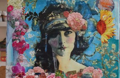 Marie, femme en fleurs collage sur toile 30X40 CMS
